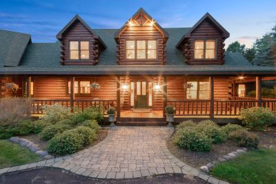 SOLD! 4BR, 2.5BA Custom Log Home on 8 Lush Acres | N7514 Carriage Dr, Elkhorn WI