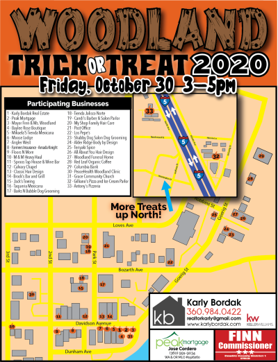 Downtown Woodland 2020 Trick Or Treat Map