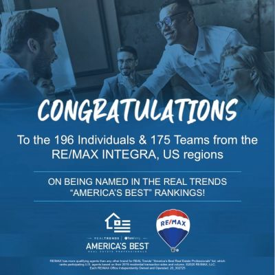 "For the 6th consecutive year….more RE/MAX Agents are Named ""America's Best!"" 🏆 Congrats to our RE/MAX INTEGRA Agents who made the list!"