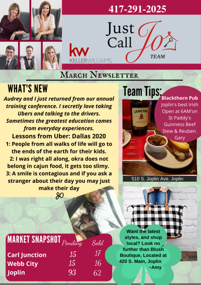 Just Call Jo Team March Newsletter