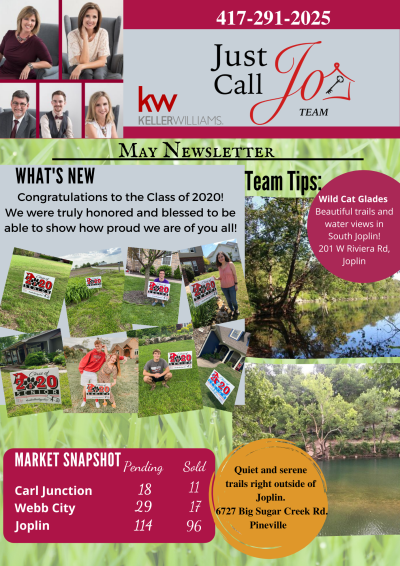 May Newsletter from the Just Call Jo Team!!