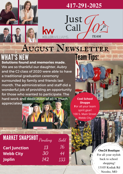August Newsletter from the Just Call Jo Team!