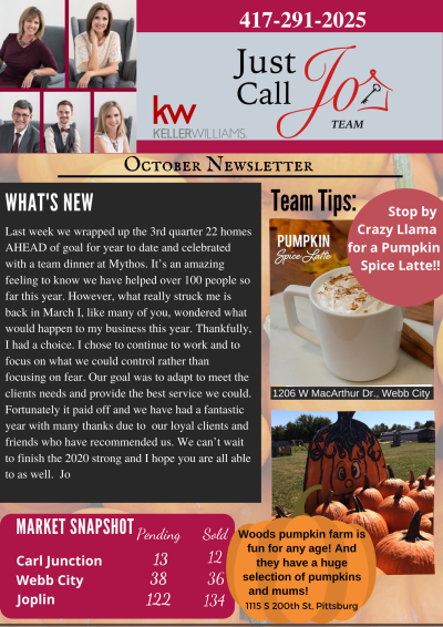 October Newsletter from the Just Call Jo Team