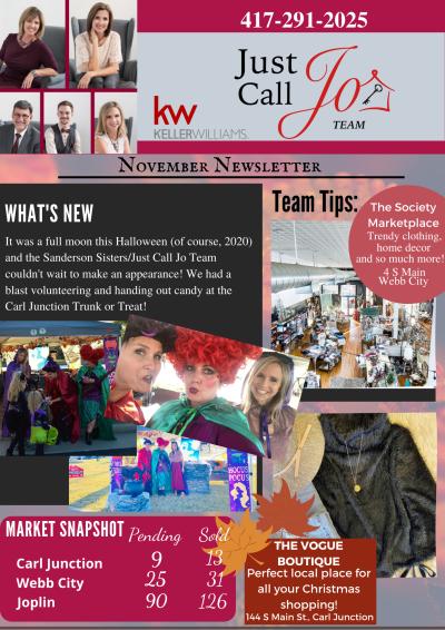 November Just Call Jo Team Newsletter!!