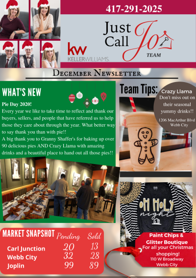 December Newsletter from the Just Call Jo Team