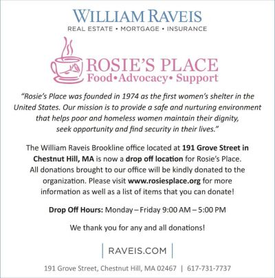 William Raveis Real Estate Brookline at Putterham Circle is a Drop Off Location for Rosie's Place