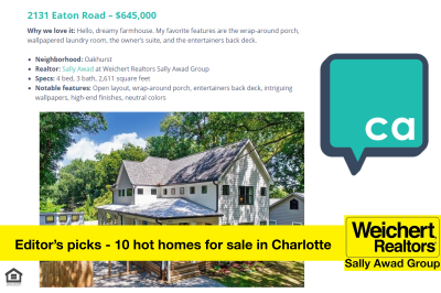 Listing Named on Charlotte Agenda's Editor's picks: 10 hot homes for sale in Charlotte right now