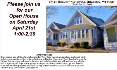 Open Houses Saturday April 21st