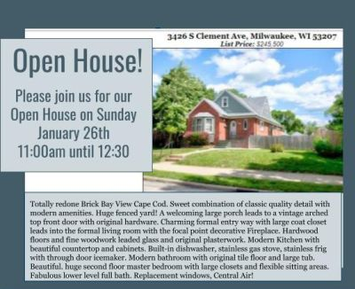Open Houses Sunday January 26th