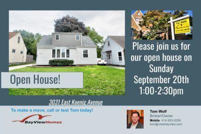 Open Houses Sunday September 20th