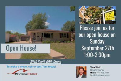 Open Houses Sunday September 27th