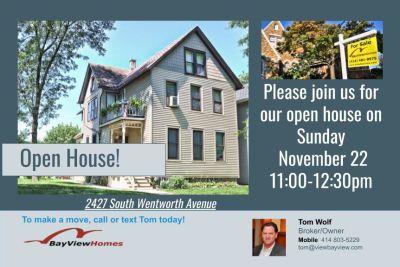Open Houses Sunday November 22nd