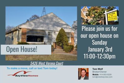 Open Houses Sunday January 3rd