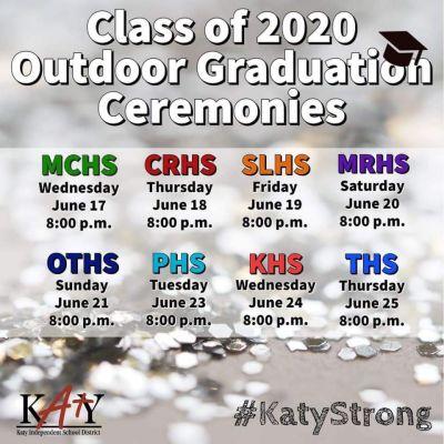 Katy ISD 2020 Outdoor Graduations to be Held June 17-25
