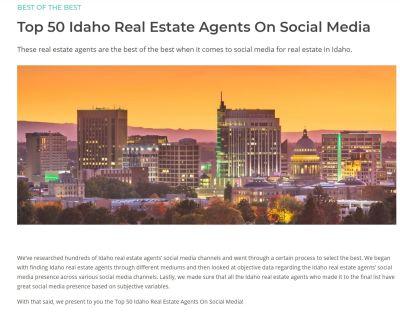 Top 50 Idaho Real Estate Agents On Social Media