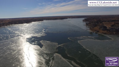The lake is almost frozen over!