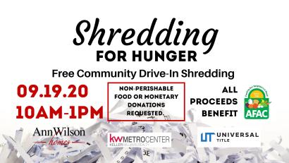 Shredding For Hunger | Free Community Drive-In Shredding Event 2020
