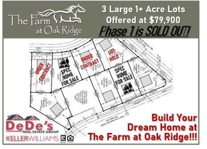 LOTS & SPEC HOMES AVAILABLE AT THE FARM AT OAK RIDGE…