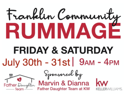 Franklin Community Rummage – Friday, July 30th – Saturday, July 31st