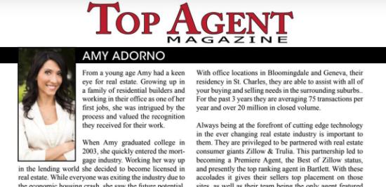 Congratulations to Amy Adorno on Top Agent Magazine Nomination!