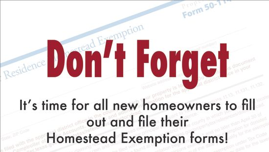 Have you filed your Homestead Exemption?