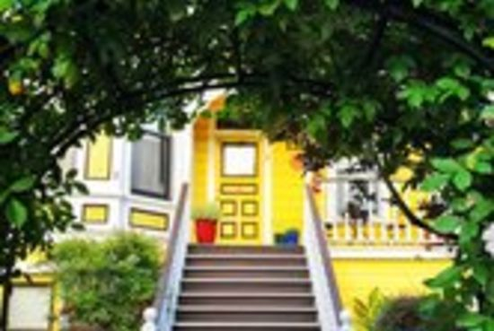 Foliage archway framing front steps and yellow door How to Avoid Choosing the Wrong Front Door