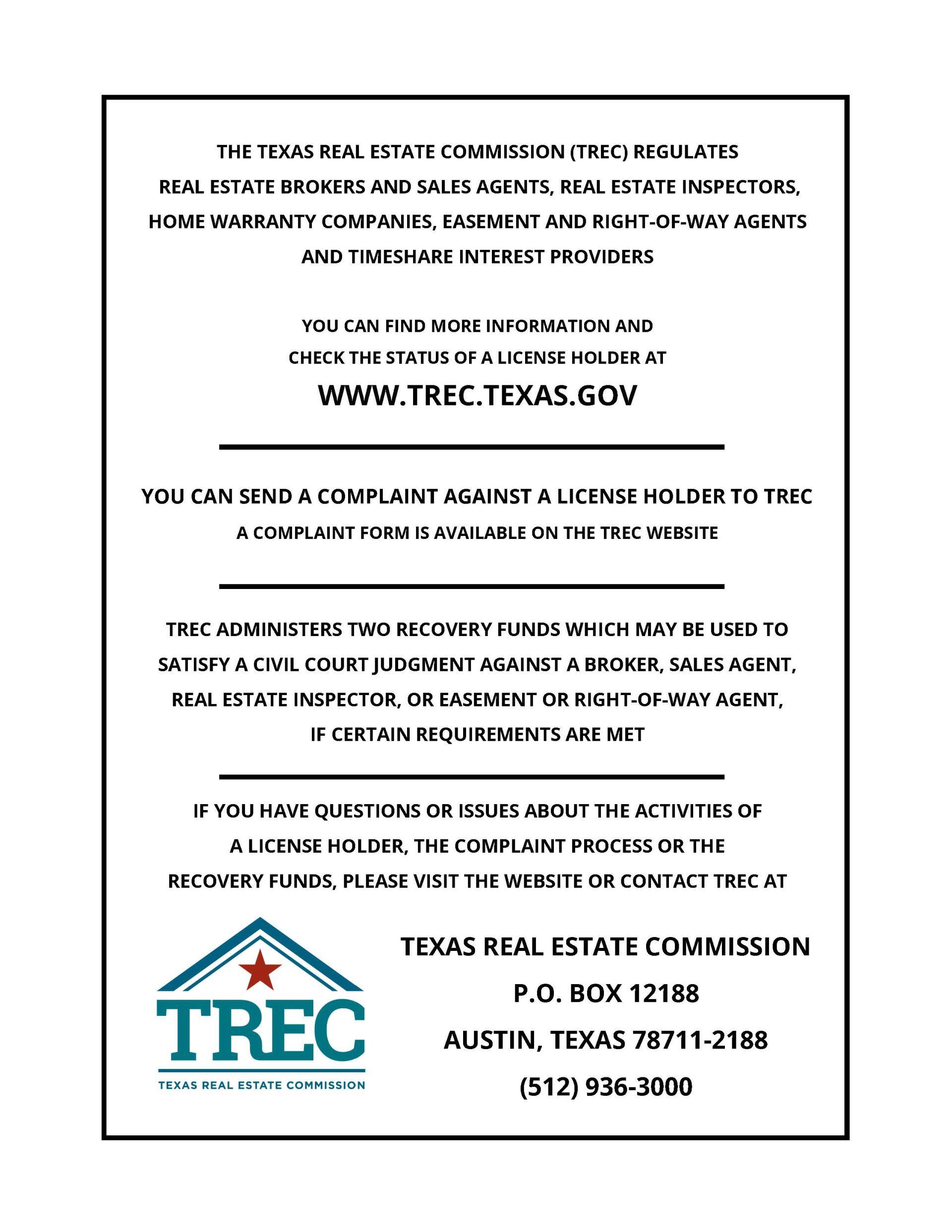 TREC Consumer Protection Notice