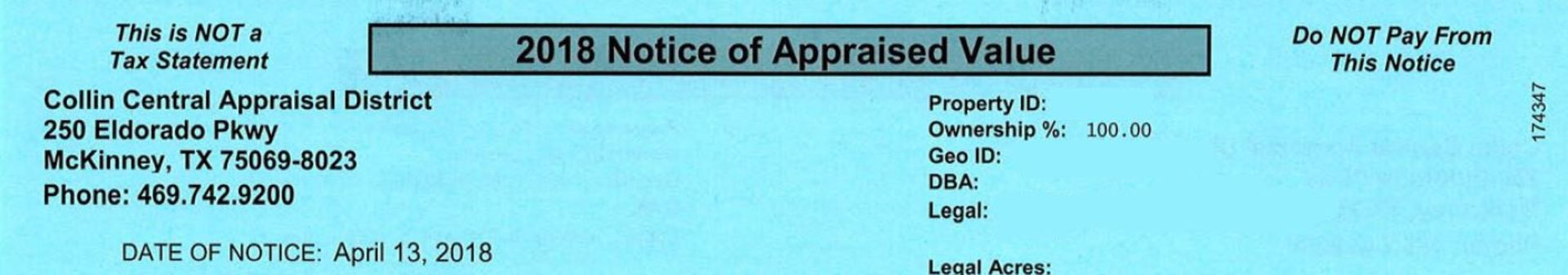 2018 NOTICE OF APPRAISED VALUE