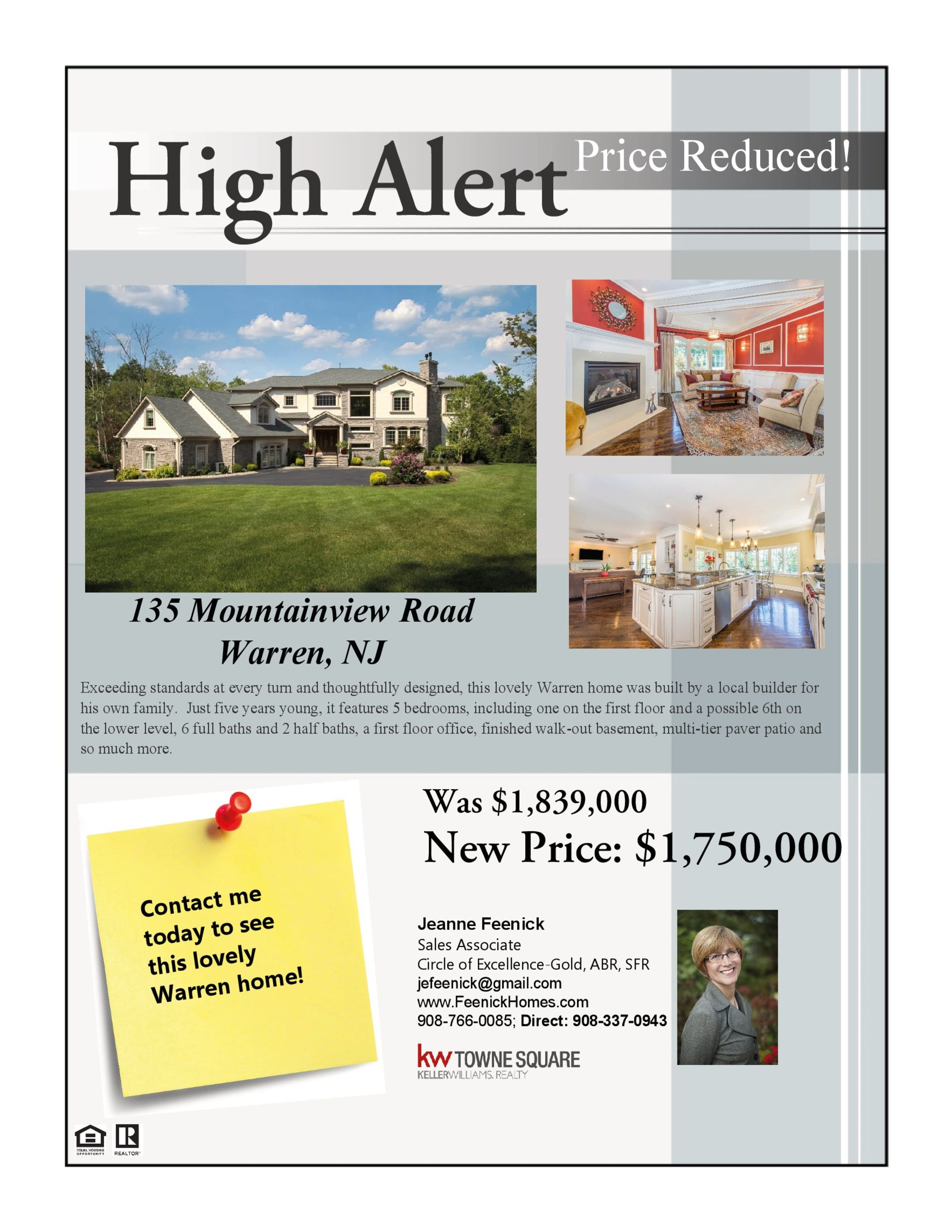 Price reduced on luxury Warren, NJ home – 135 Mountainview Road