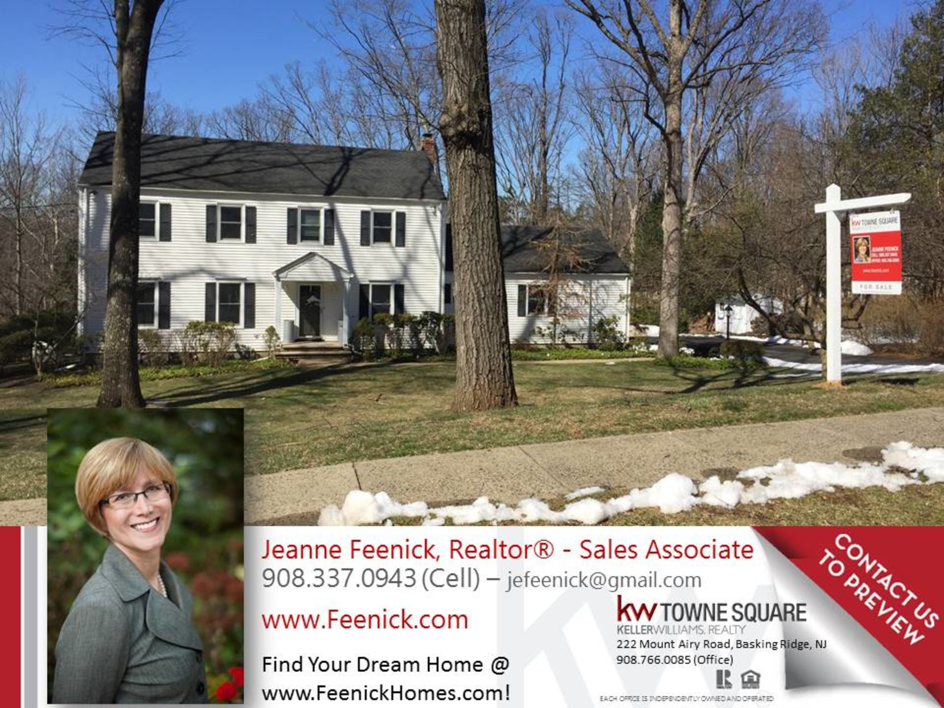 Four Bedroom Colonial on prime Basking Ridge street for sale!