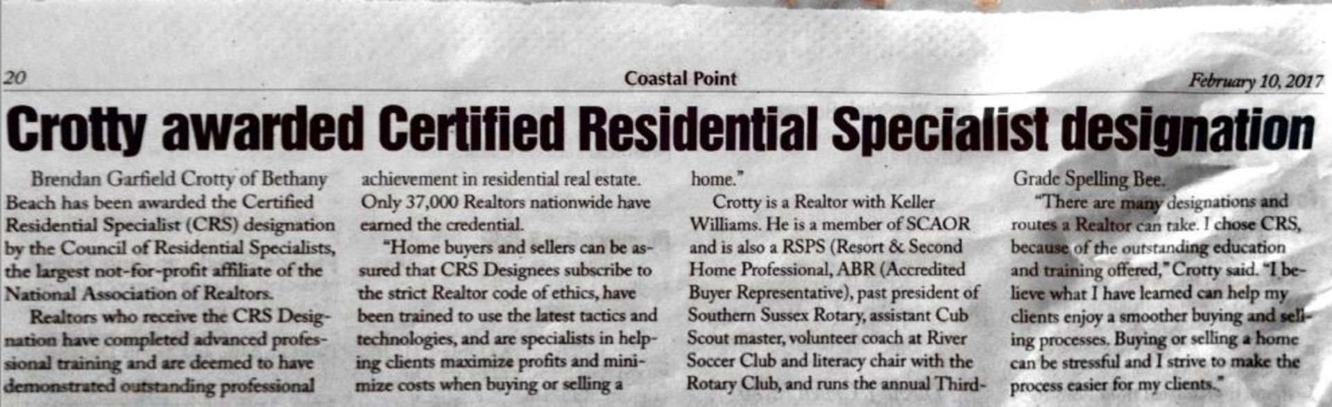 Crotty Awarded CRS Designation