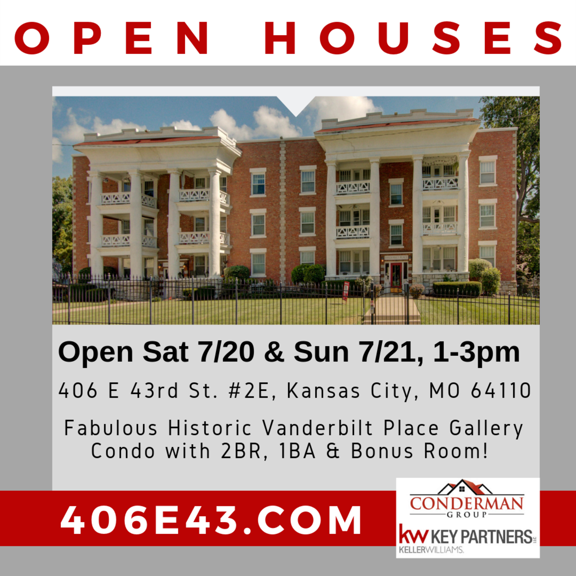 JUST LISTED with Two Public Open Houses! Vanderbilt Place Gallery Condo in KC