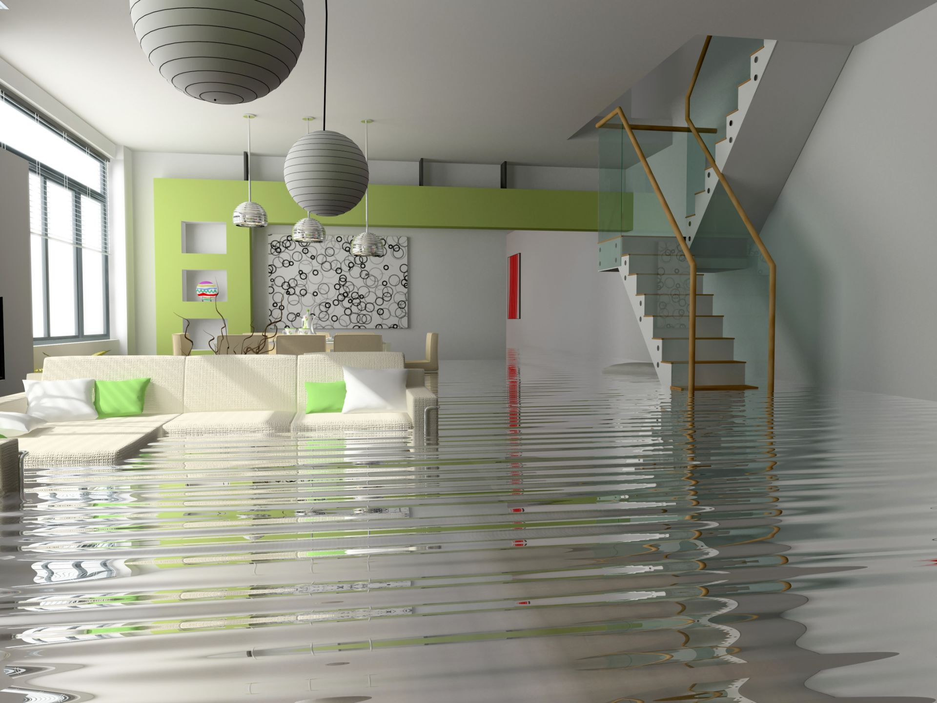 busted pipes and flooded house