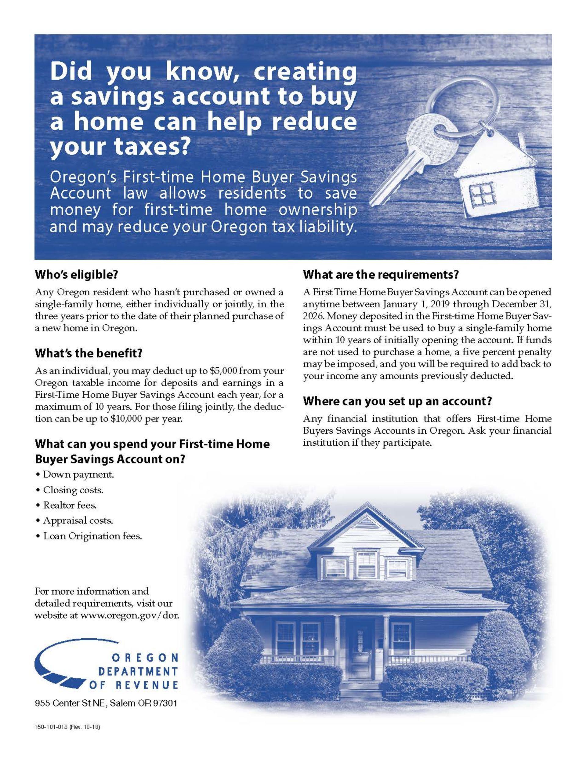 Oregon First Time Home Buyers Savings Accounts