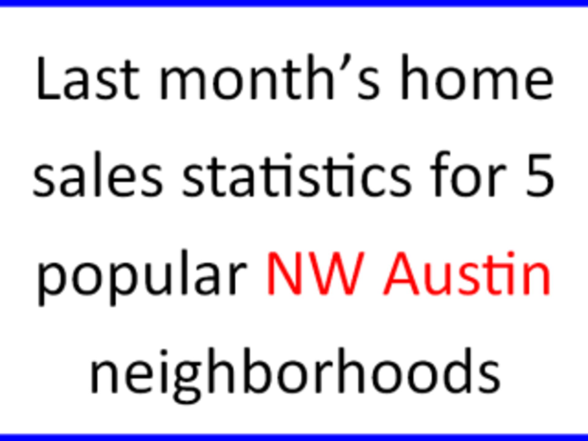 July home sales statistics for 5 popular NW Austin neighborhoods