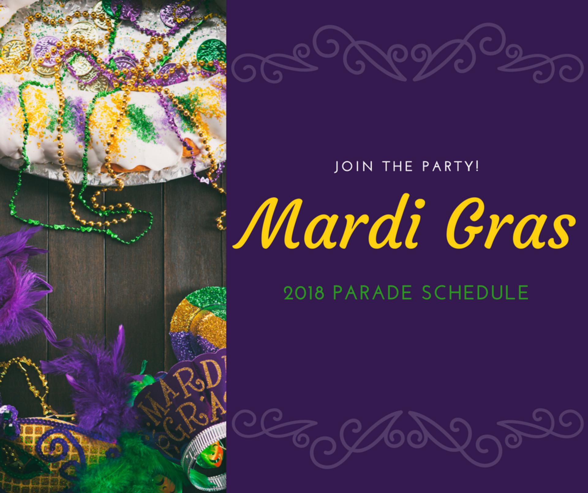 Mardi Gras 2018 Schedule