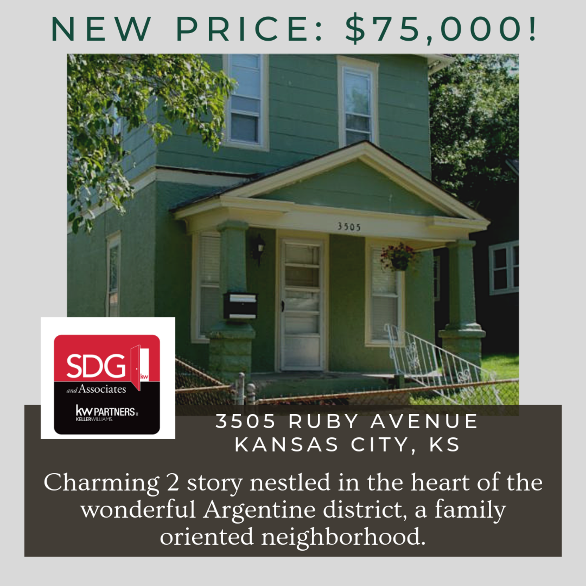 Charming 2 Story in Kansas City KS for $75K – Bring All Offers!