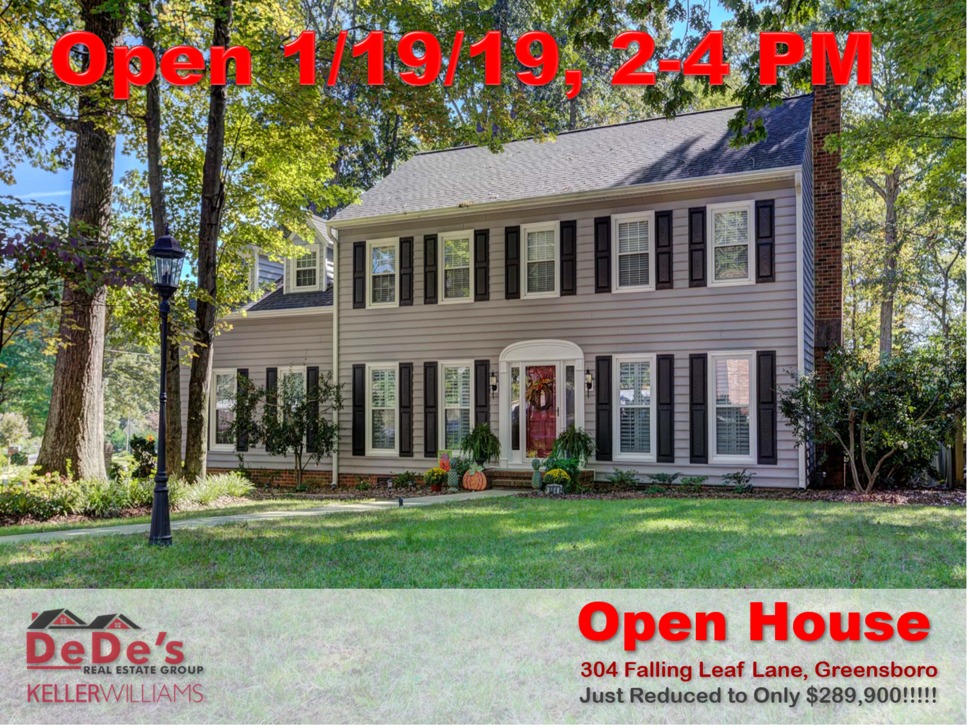 Open House Saturday 1/19/19 at 304 Falling Leaf Lane, Greensboro