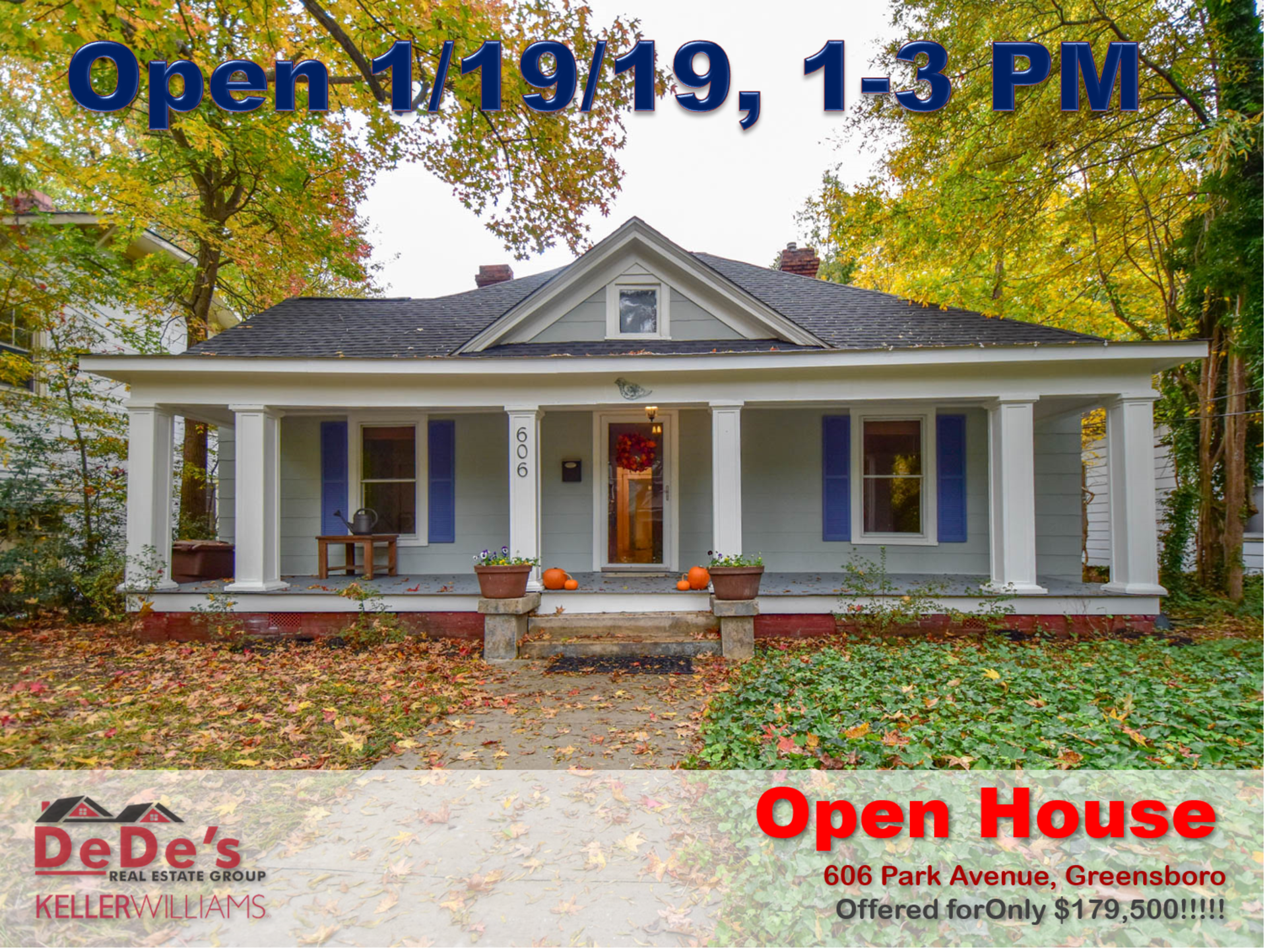 Open House SATURDAY 1/19/19 from 1 – 3 PM