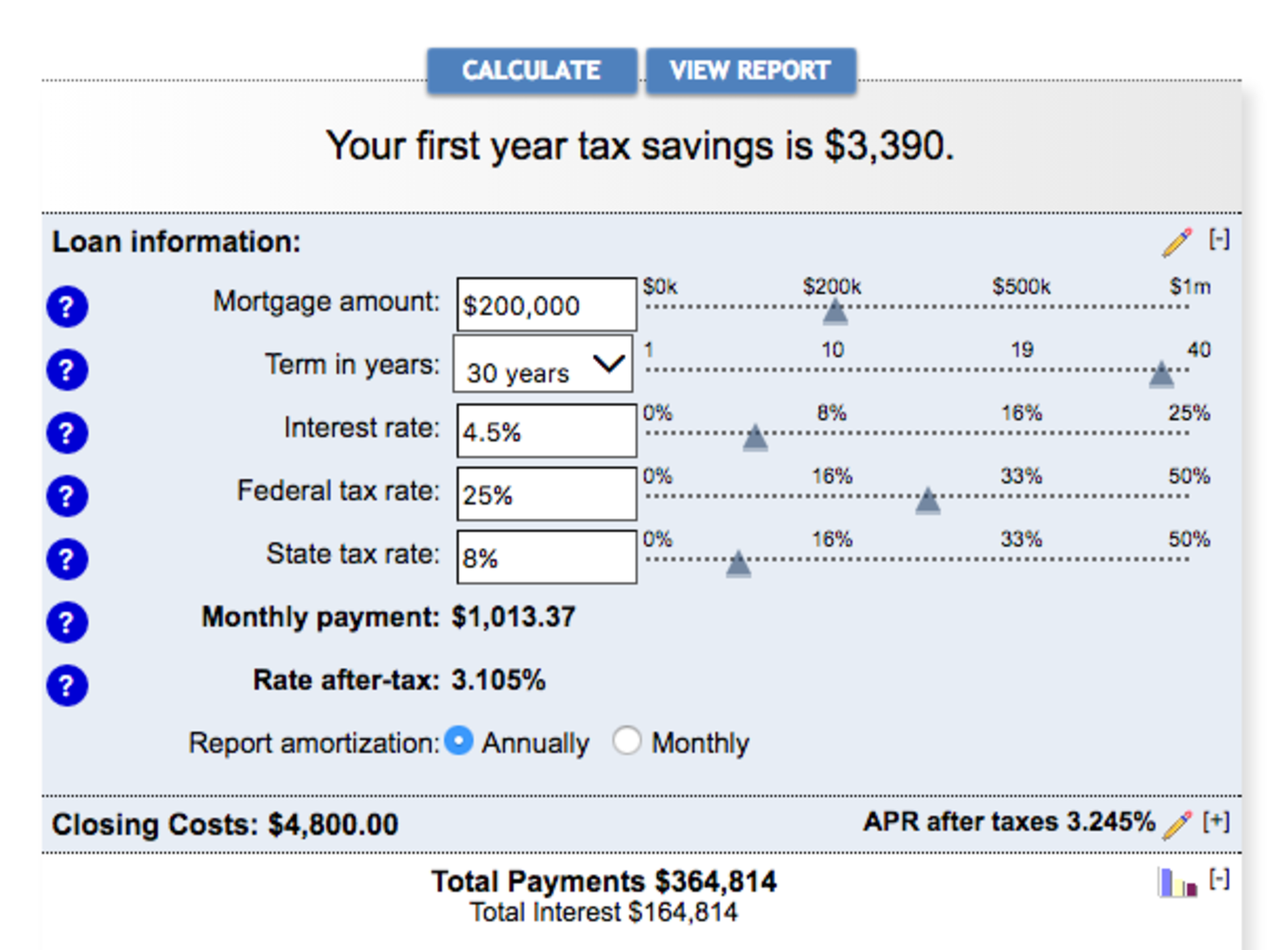 Mortgage Deduction Calculator