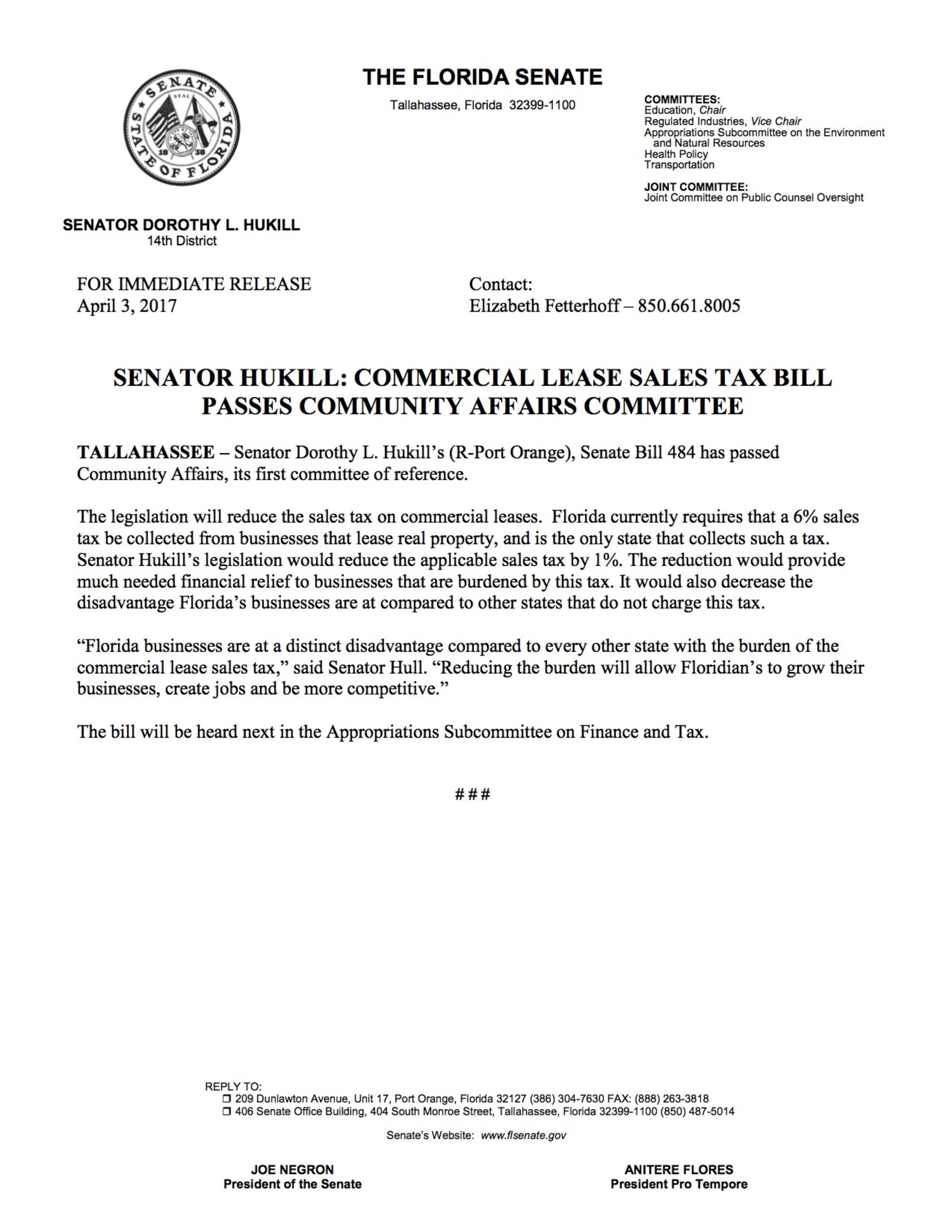 SENATOR HUKILL: COMMERCIAL LEASE SALES TAX BILL PASSES COMMUNITY AFFAIRS COMMITTEE