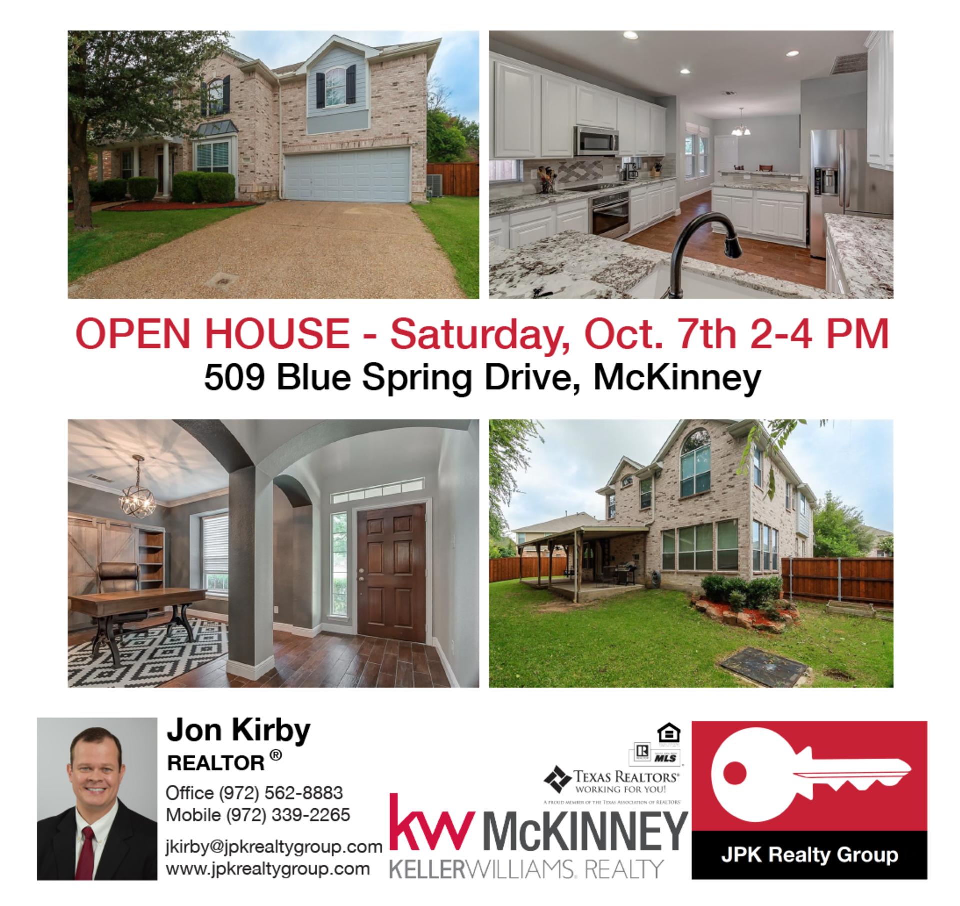 Open House – 509 Blue Spring Drive, McKinney