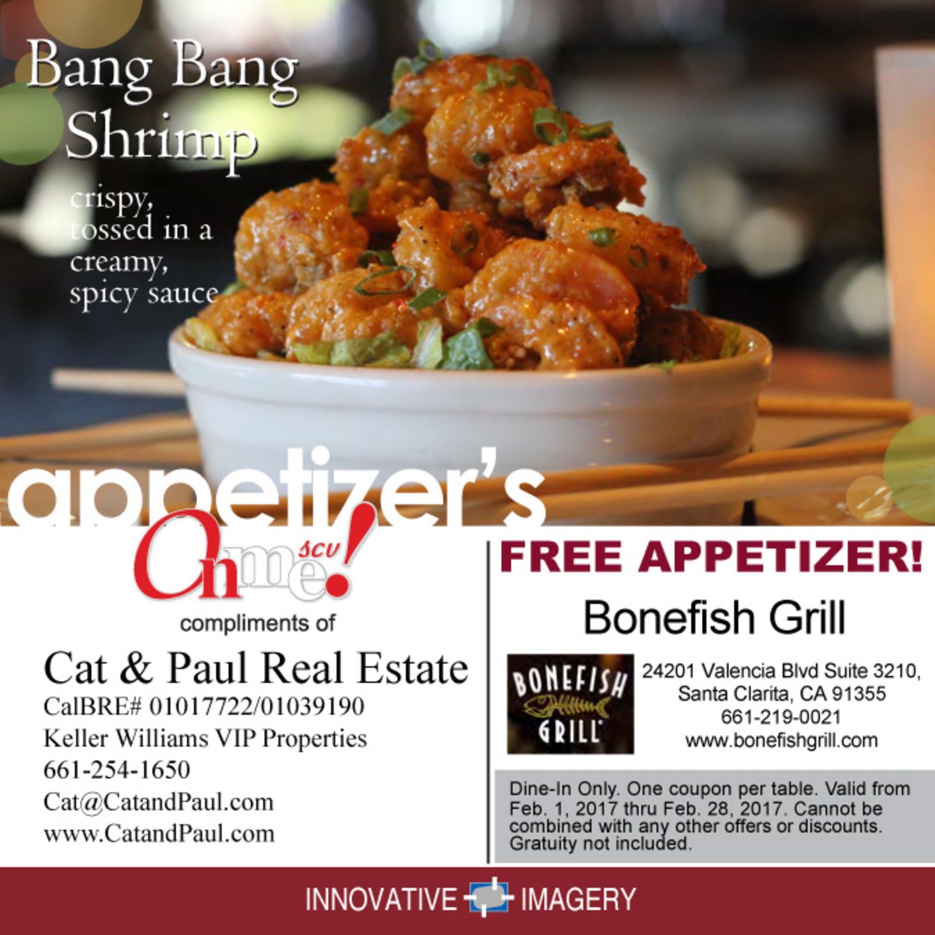 Bonefish Grill Free Appetizer Coupon February 2017