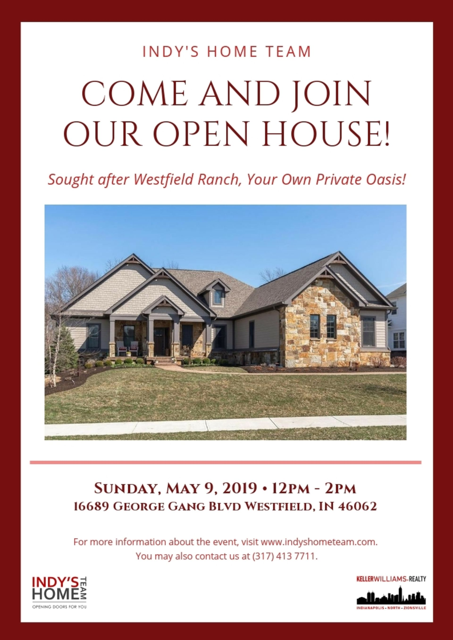 OPEN HOUSE   SUNDAY, June 9th from 12-2 PM! – 16689 George Gang Blvd