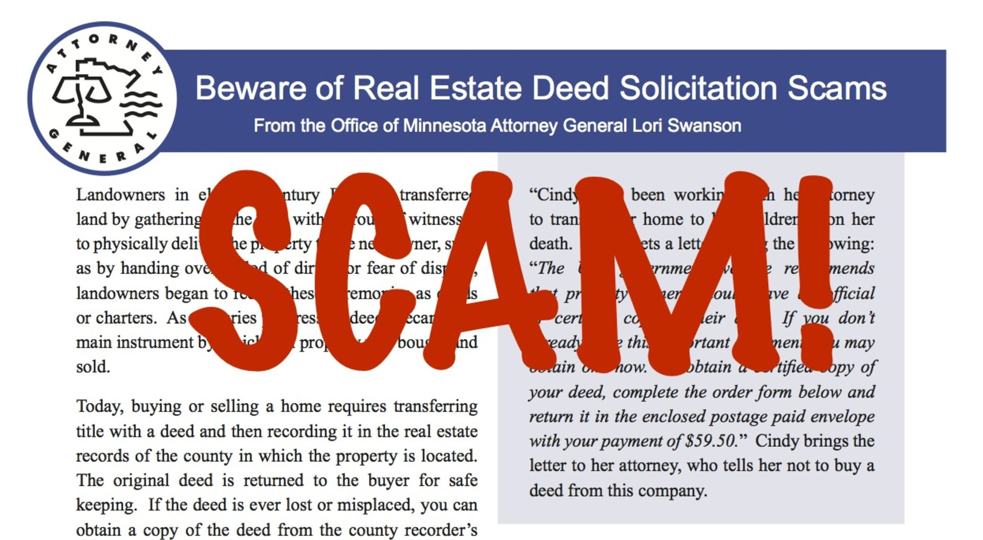 Buyers Be Aware of Real Estate Deed Solicitation Scams in Minnesota