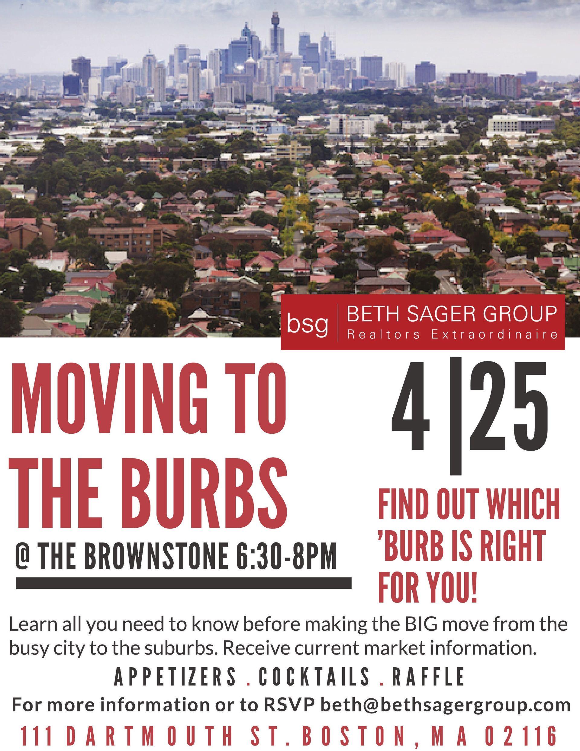Moving to the Burbs Seminar April 25th