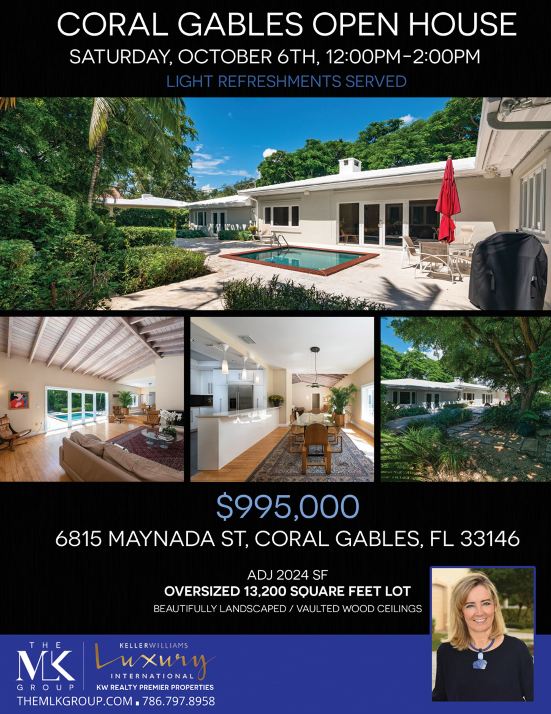 Open house in Coral Gables this coming Saturday October 6th from 12-2pm