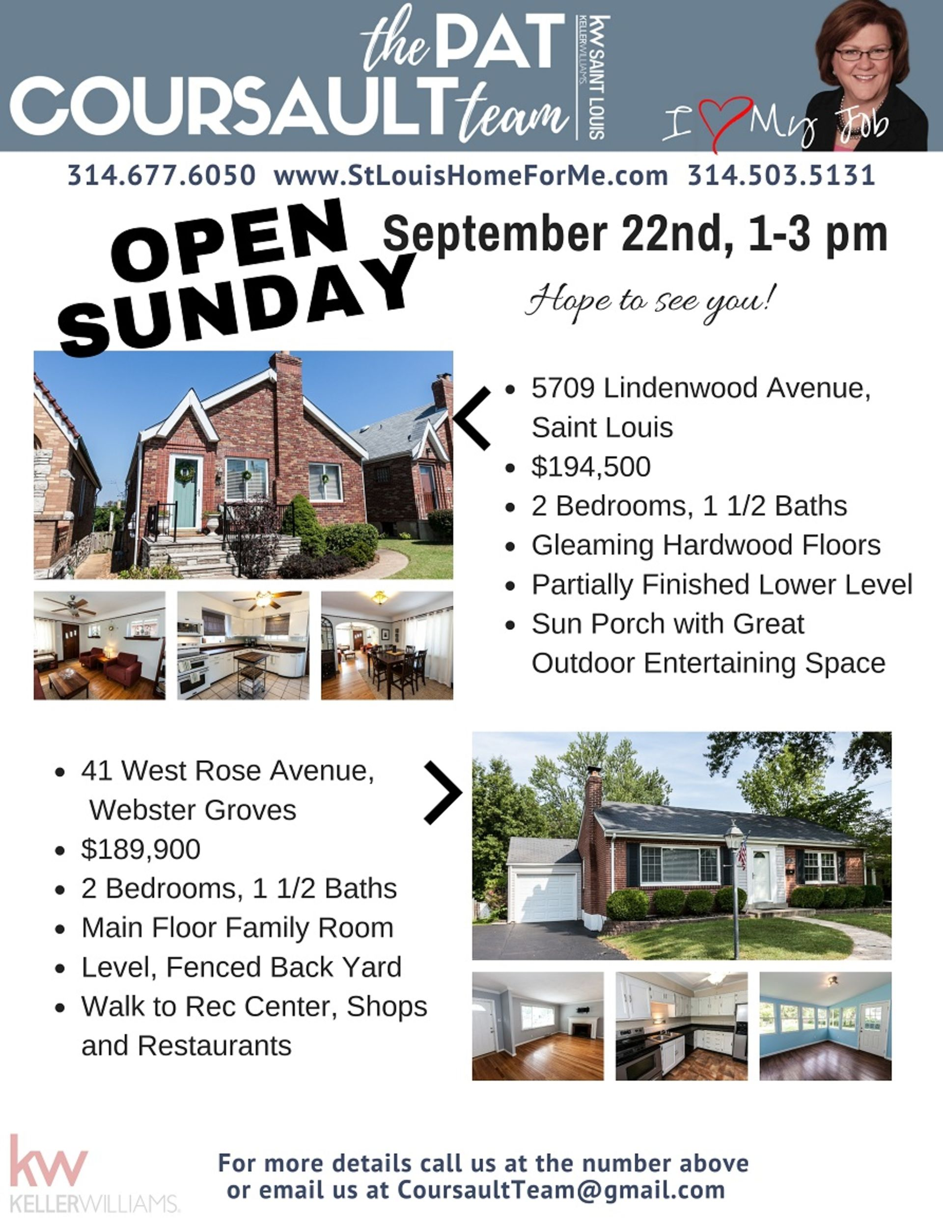 Sunday Open House, September 22nd, 1-3 pm
