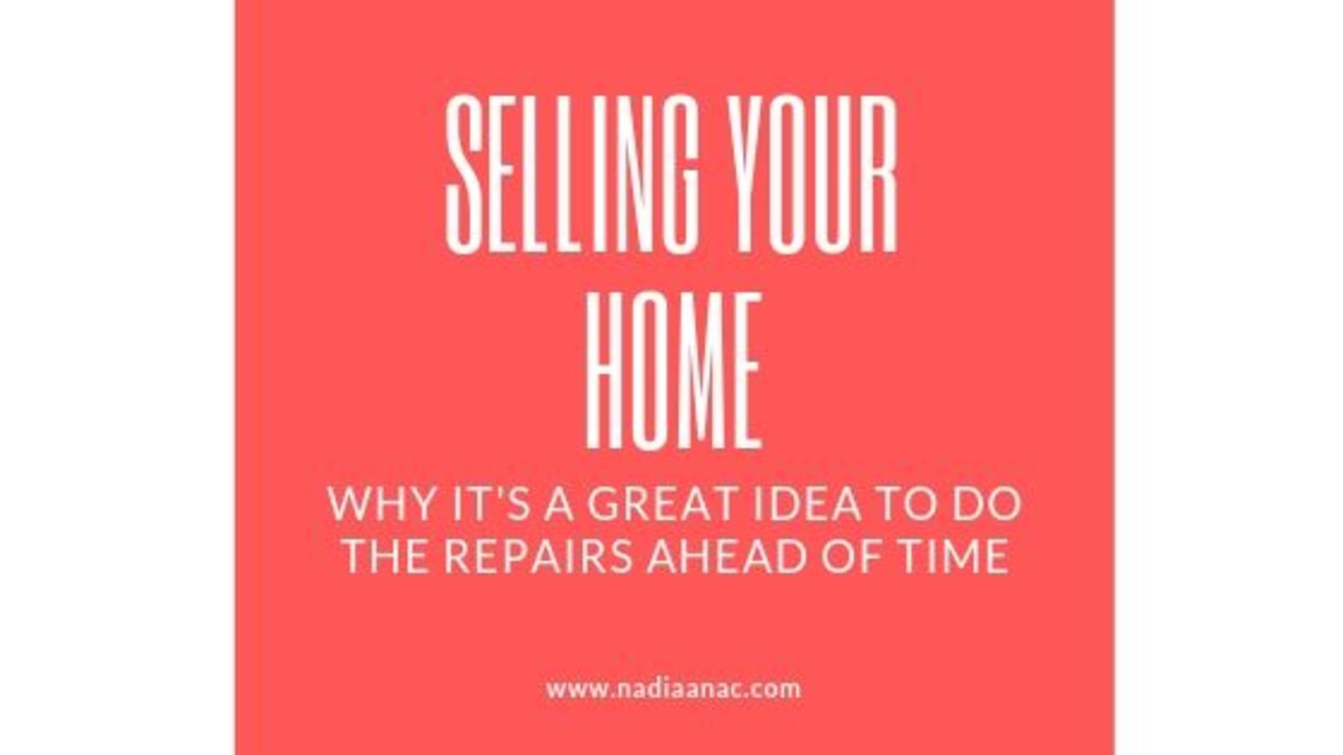 Sellers: Do the Repairs Ahead of Time!