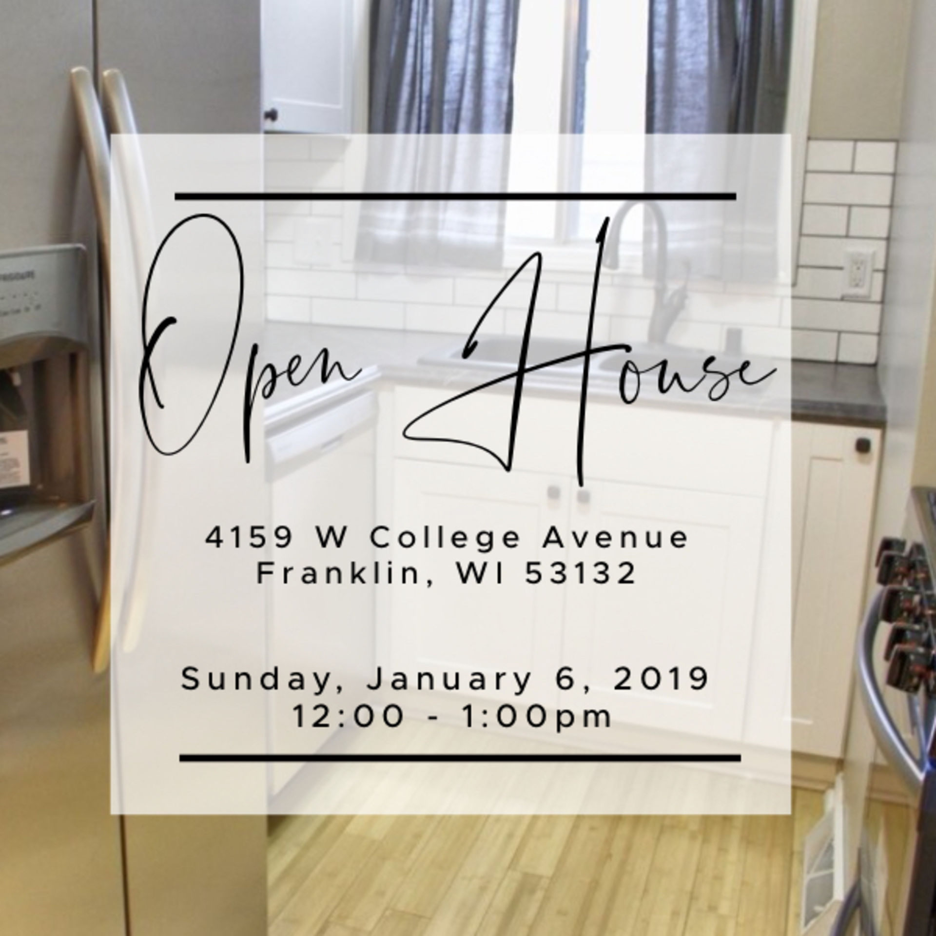 OPEN HOUSE – Sunday, January 6, 2019   12 – 1pm